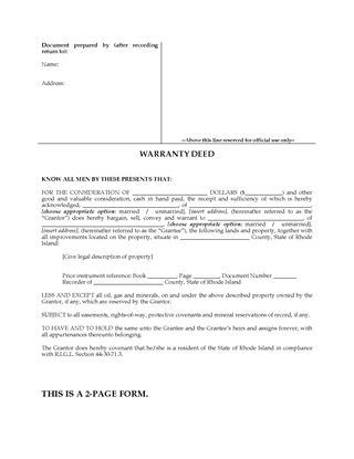 Picture of Rhode Island Warranty Deed Form