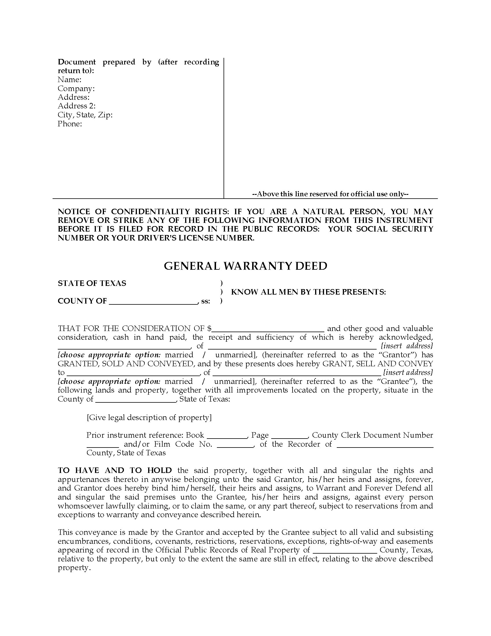 Texas General Warranty Deed Form | Legal Forms and Business ...