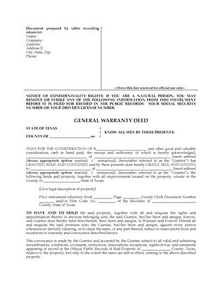 Picture of Texas General Warranty Deed Form