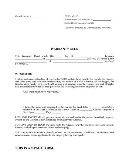 Picture of Virginia Warranty Deed Form