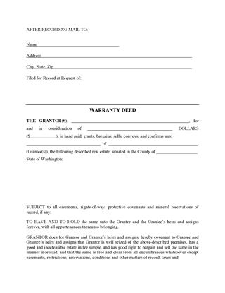Picture of Washington Warranty Deed Form