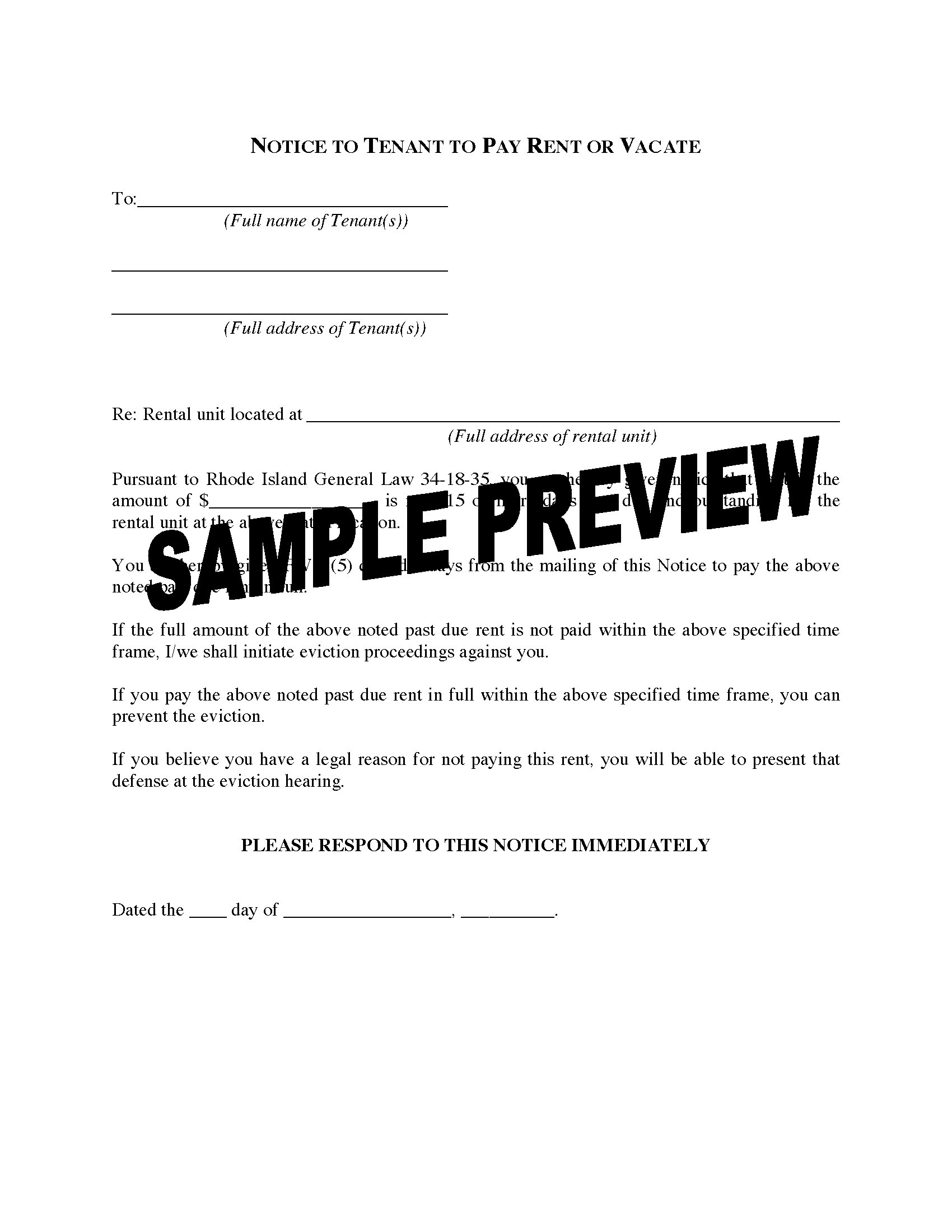 notice to pay rent or quit template - rhode island notice to tenant to pay rent or vacate