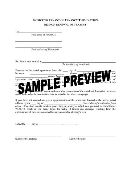 Picture of Utah Notice to Tenant of Tenancy Termination for Non-renewal of Tenancy