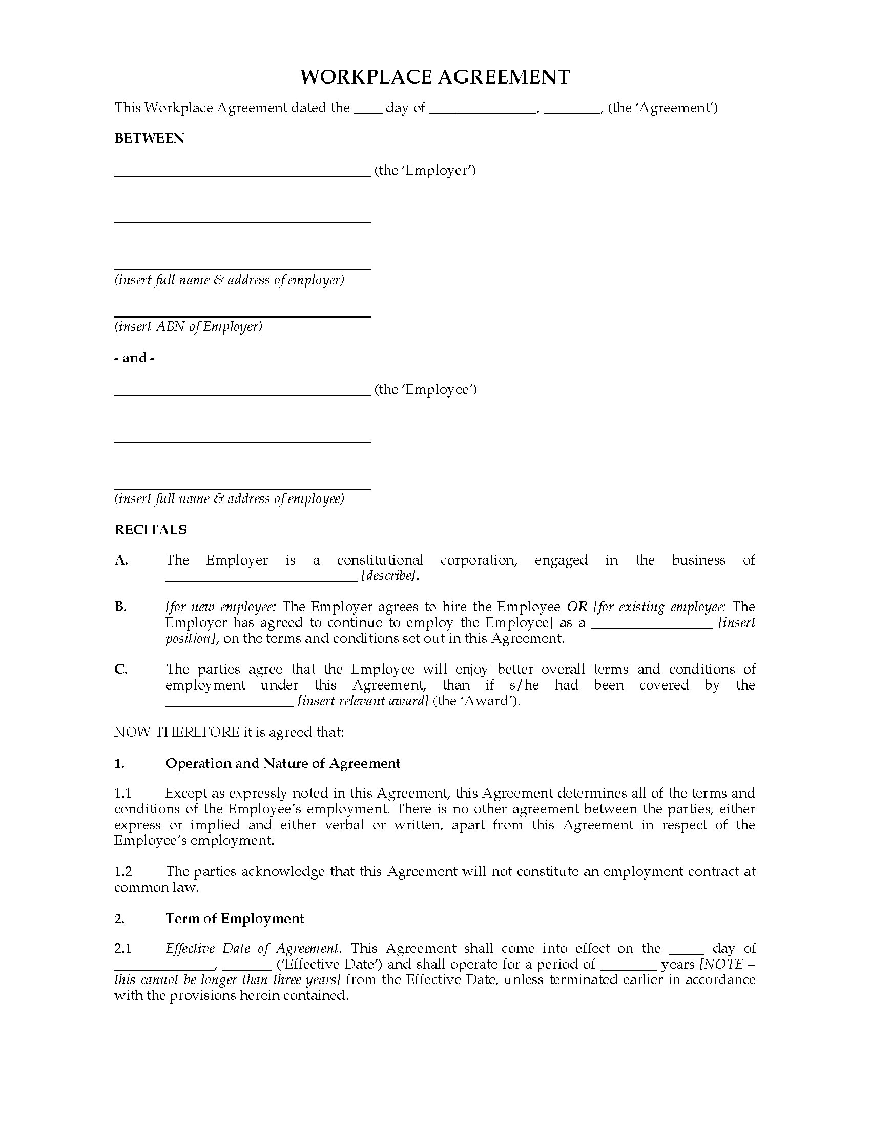 Australia workplace agreement template legal forms and for 0 hours contract template