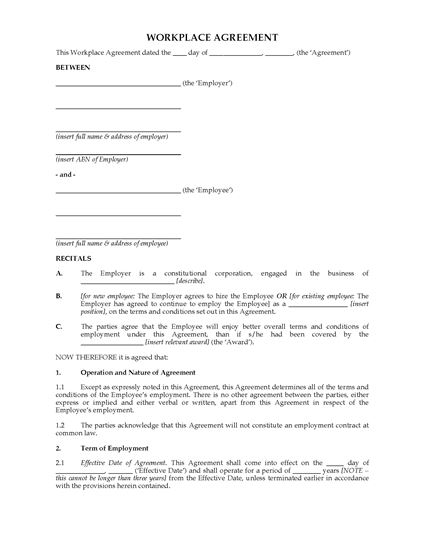 Picture of Workplace Agreement | Australia