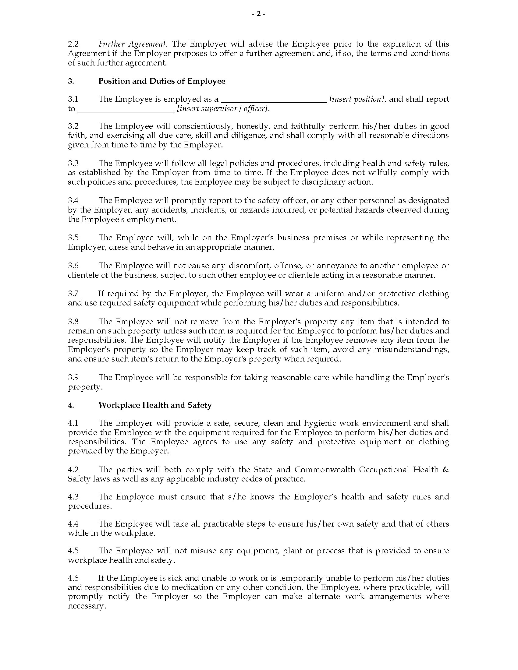 australia workplace agreement template