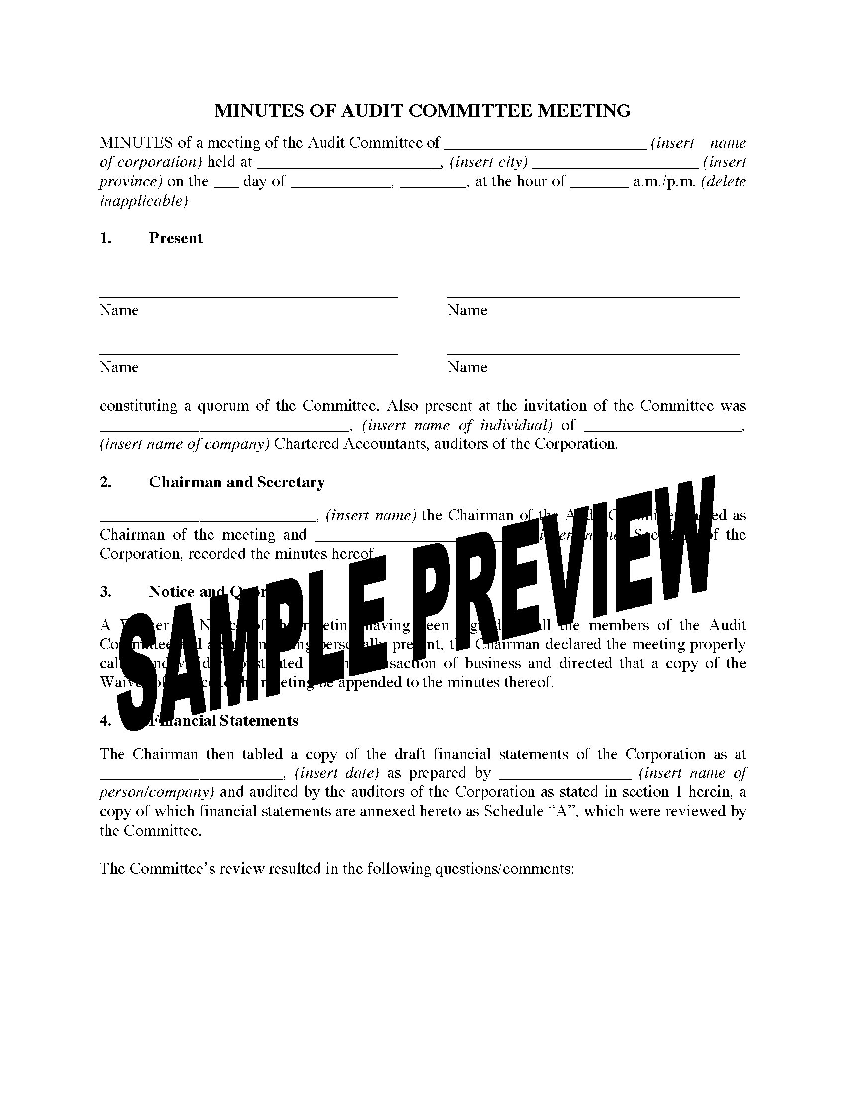 canada minutes of audit committee meeting legal forms