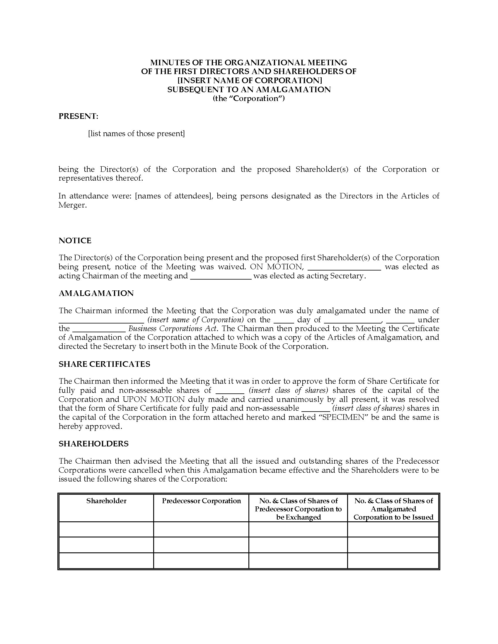 minutes of shareholders meeting template - canada minutes of organizational meeting of amalgamated