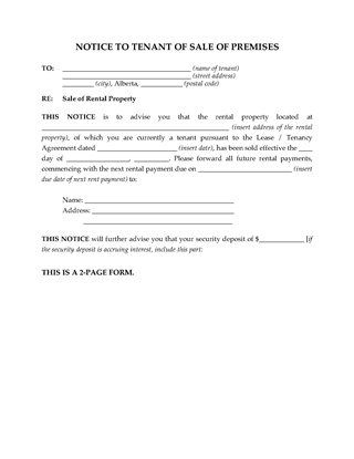 Picture of Alberta Notice to Tenant of Sale of Rental Premises