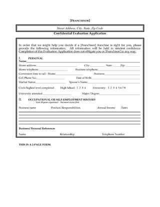 Picture of USA Franchisee Evaluation and Application Form
