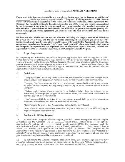 Picture of Australia Website Affiliate Agreement