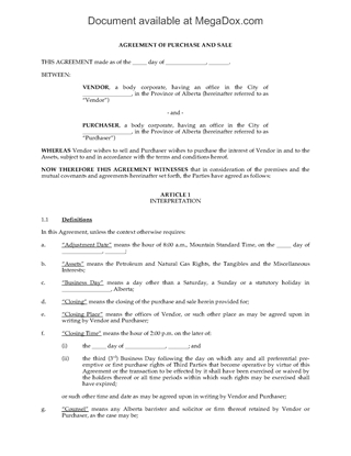 Picture of Alberta Purchase and Sale Agreement for Oil & Gas Leases