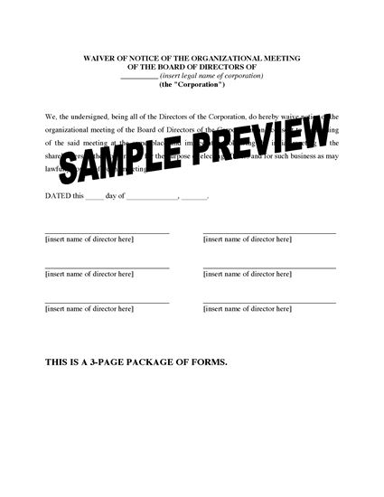 Picture of Waiver of Notice Forms for Directors Meetings (Canada)