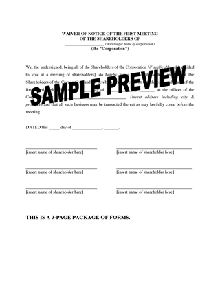 Picture of Waiver of Notice Forms for Shareholder Meetings | Canada