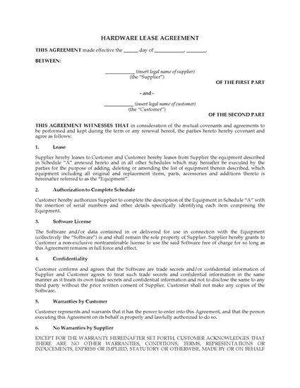 Picture of Canada Computer Hardware Lease with Software License