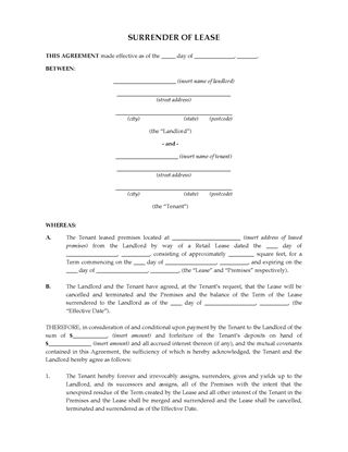Picture of Australia Surrender of Commercial or Retail Lease
