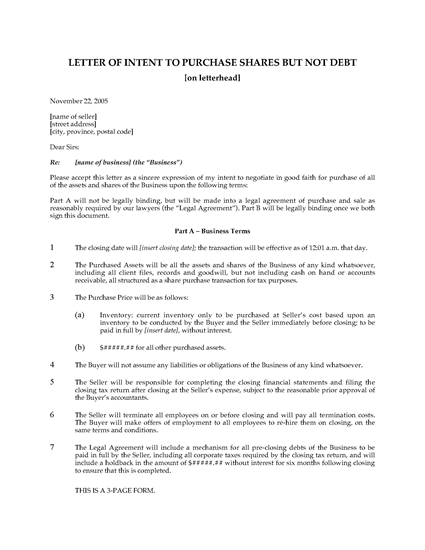 Picture of Letter of Intent to Purchase Assets and Shares but Not Debt