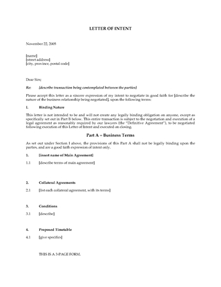 Picture of Letter of Intent Template | Canada