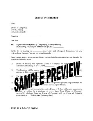 Picture of Letter of Interest / Loan Proposal from Broker