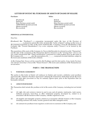 Picture of Letter of Intent to Purchase Business Assets | Canada