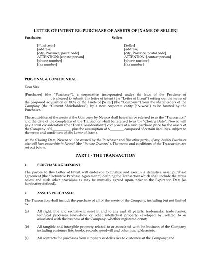 Picture of Letter of Intent to Purchase Business Assets   Canada