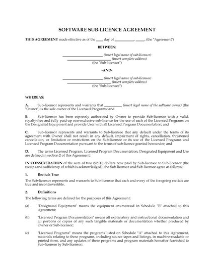 Picture of Canada Software Sublicence Agreement