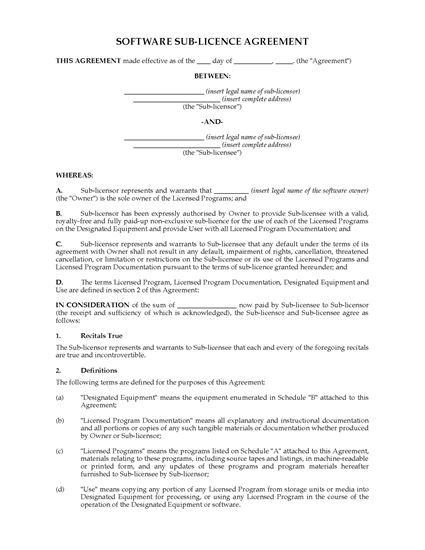 Picture of UK Software Sublicence Agreement