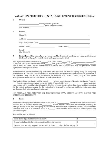 Picture of British Columbia Vacation Property Rental Agreement