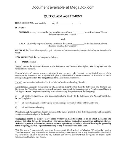 Picture of Alberta Quit Claim Agreement for Oil and Gas Rights