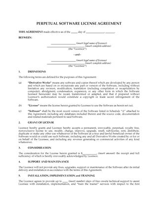 Software Development And Perpetual License Agreement Legal Forms