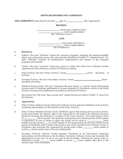 Picture of Software Distribution Agreement | Canada