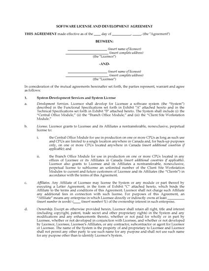 Picture of Software Licence and Development Agreement | Canada