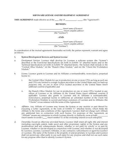 Picture of Software License and Development Agreement | USA