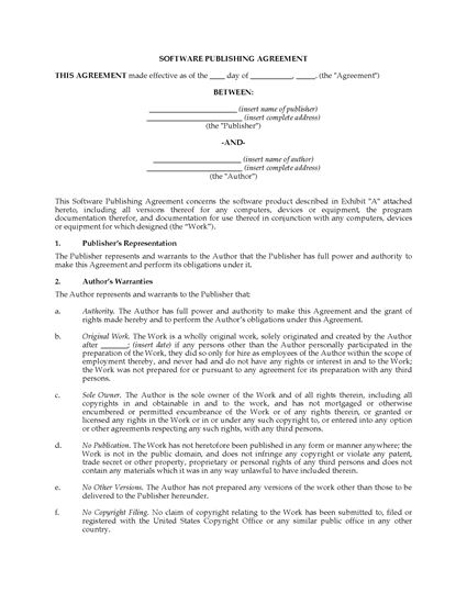 Picture of USA Software Publishing Agreement