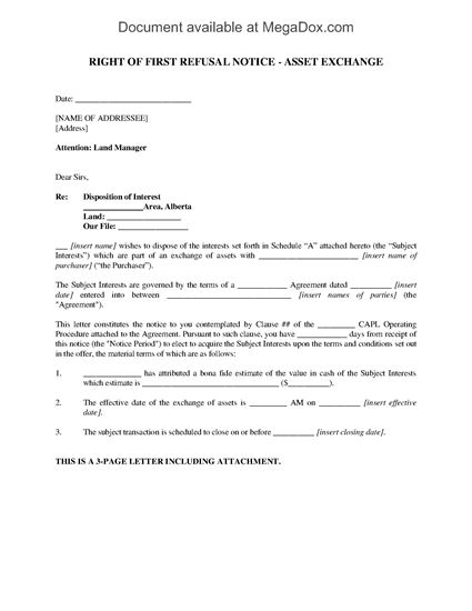 Picture of Alberta Right of First Refusal Notice (Oil & Gas)