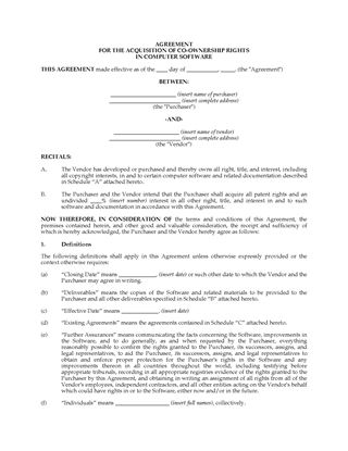 Picture of Acquisition Agreement for Co-Ownership of Software | Canada