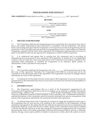 Picture of USA Programmer Subcontract