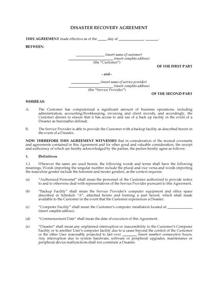 Picture of Canada Data Disaster Recovery Agreement