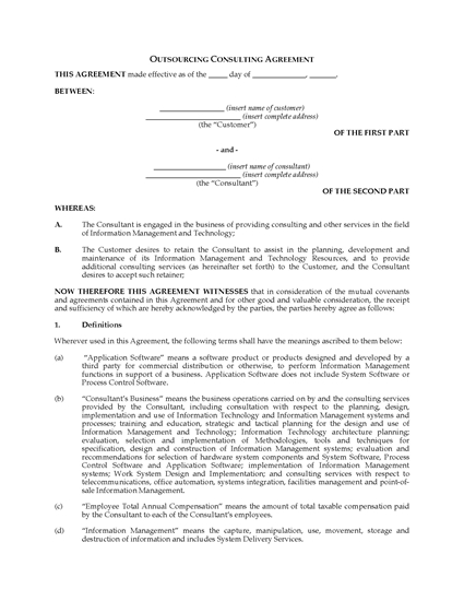 Picture of IT Outsourcing Consulting Agreement   Canada
