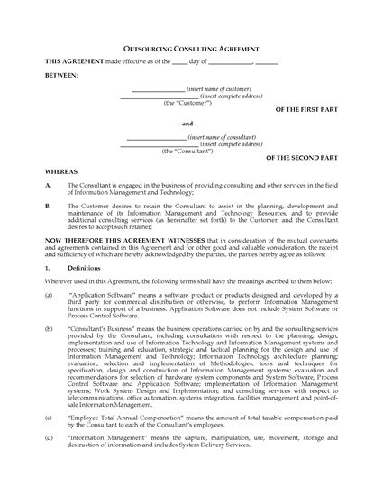 Picture of USA Information Technology Outsourcing Consulting Agreement