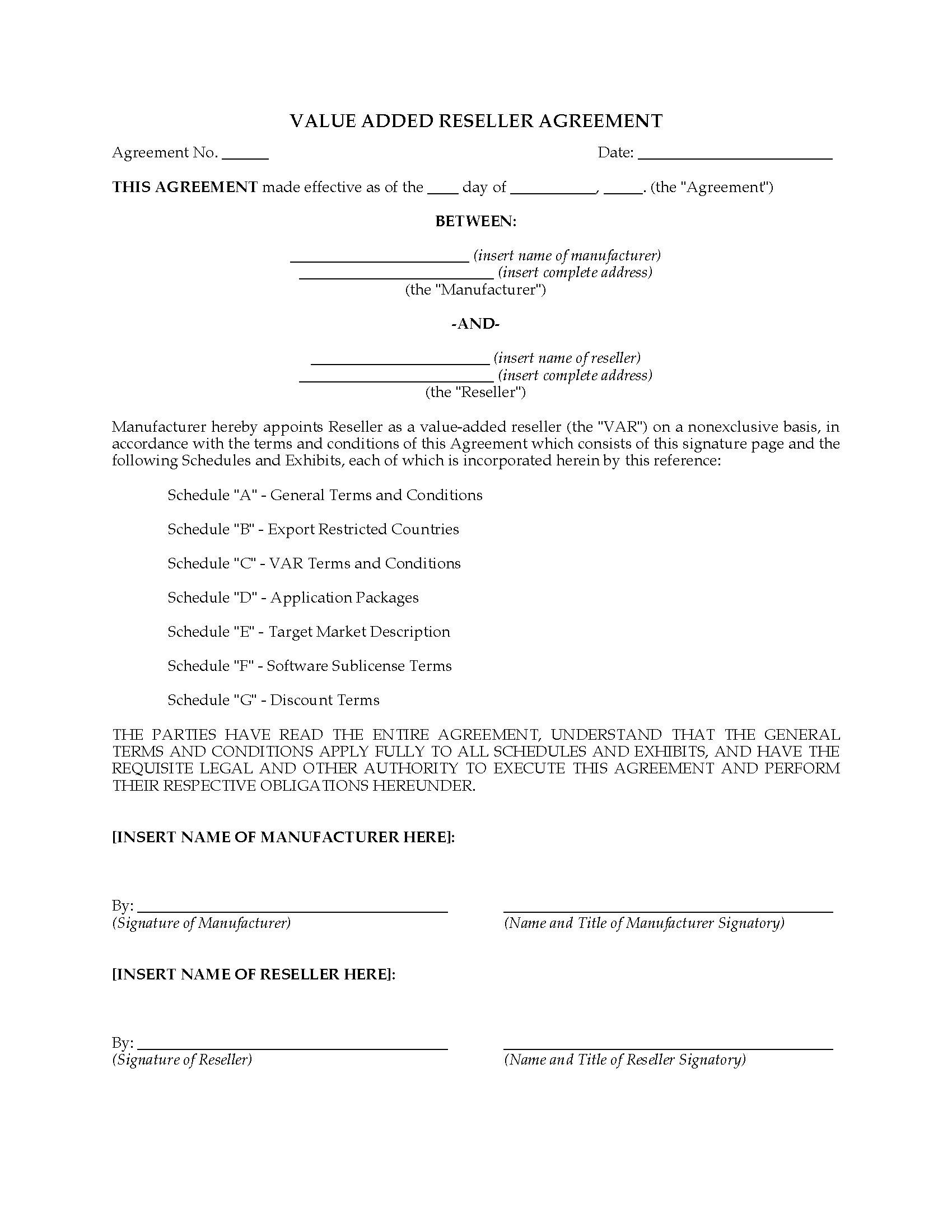 Canada Value Added Computer Reseller VAR Agreement | Legal ...