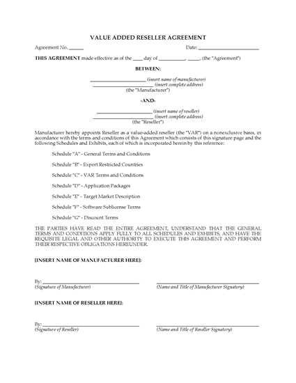 Picture of VAR Agreement for Computer Resellers   Canada