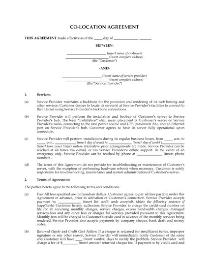 Picture of Co-Location Agreement | Canada