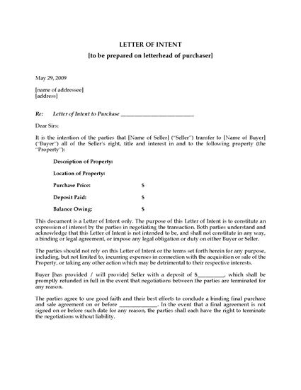 Picture of USA Letter of Intent to Purchase Fixture