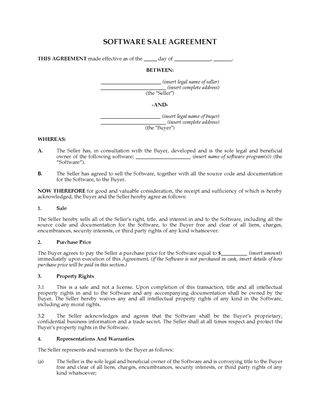 Picture of Sale Agreement for Interest in Software | USA