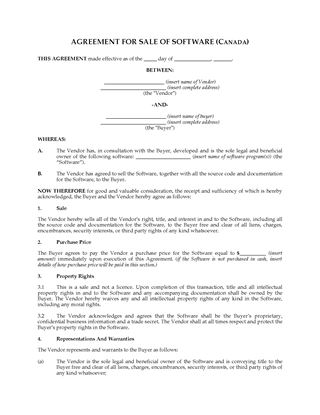 Picture of Sale Agreement for Interest in Software | Canada