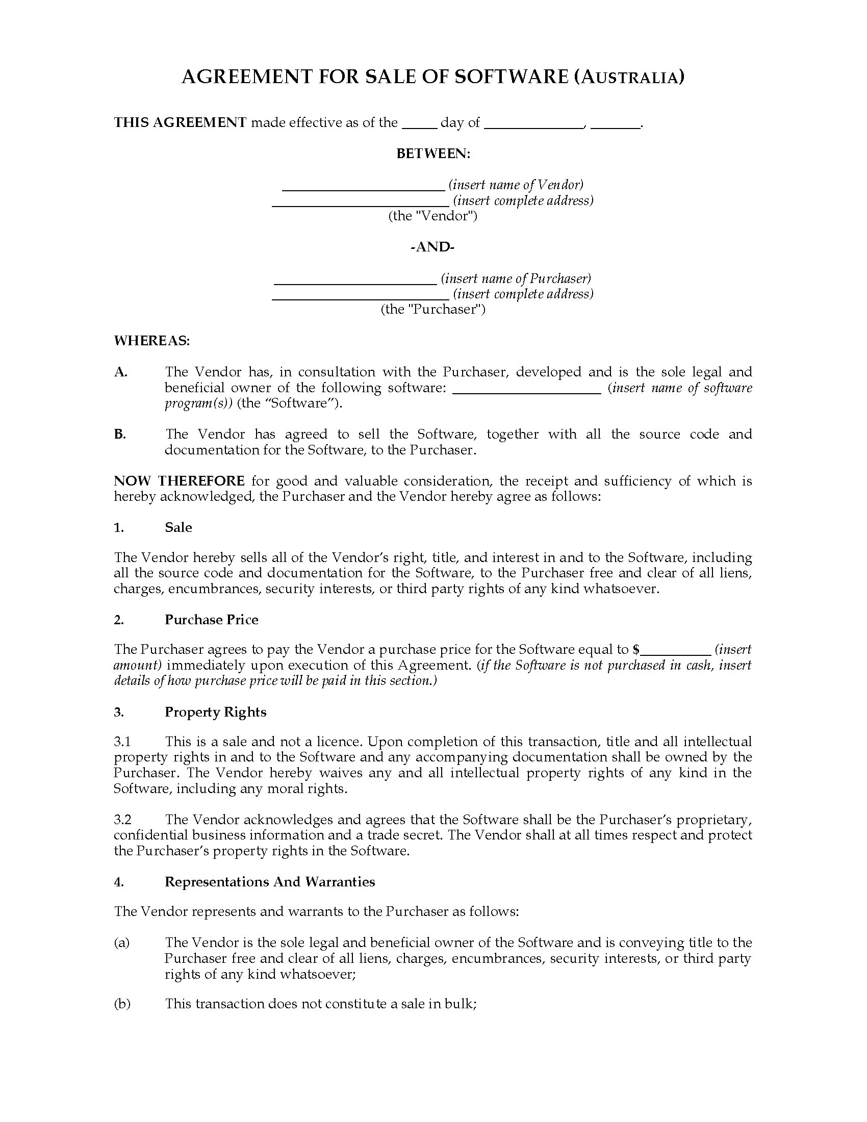 Australia Sale Agreement For Interest In Software Legal Forms And Business Templates Megadox Com