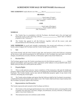 Picture of Sale Agreement for Interest in Software | Australia