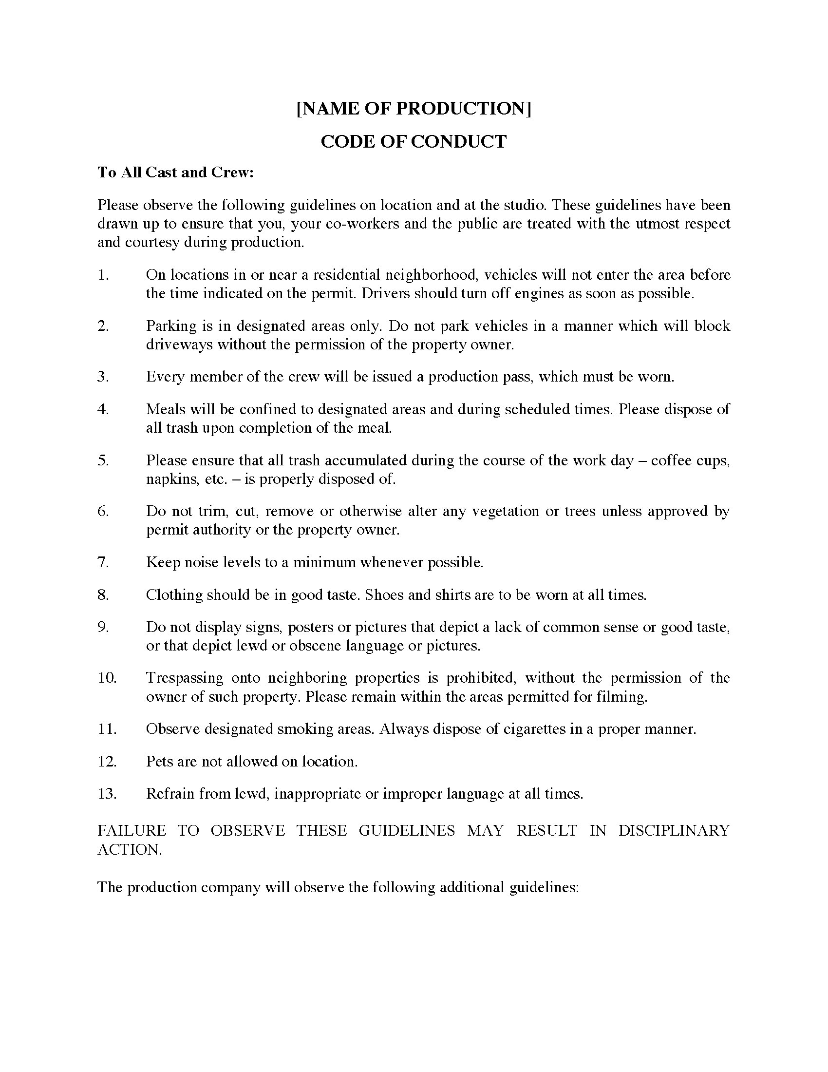 Code of conduct for film crew legal forms and business templates picture of code of conduct for film crew accmission Gallery