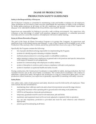 Picture of Film Production Safety Guidelines